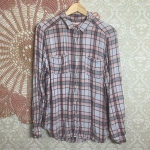 Mossimo Boyfriend Fit Plaid Button Down